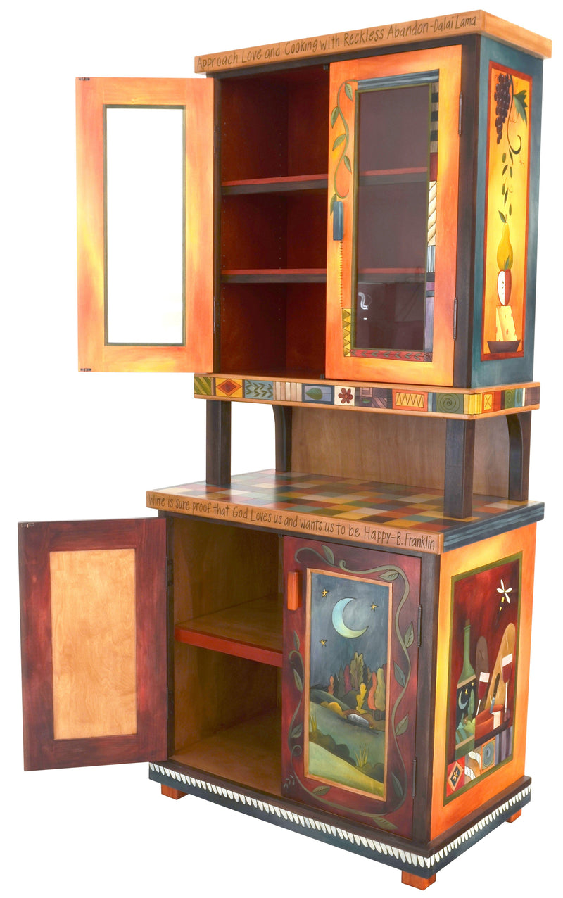 "China Hutch –  ""Approach Love and Cooking with Reckless Abandon"" China hutch with sun and moon motif"
