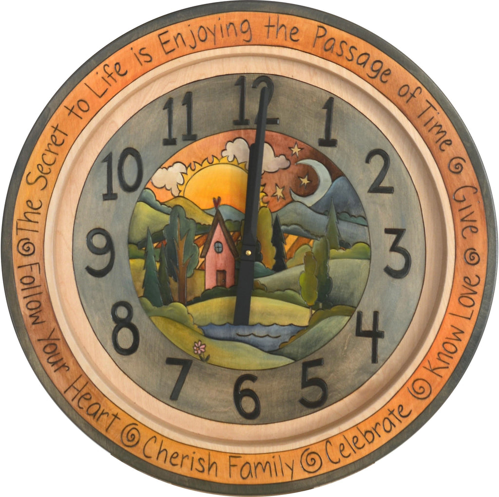"Sticks handmade 24""D wall clock with rolling landscape and sun and moon horizon"