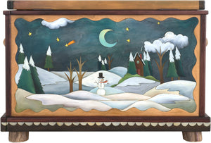 "Chest –  ""Treasures"" chest with winter and summer landscape motif"