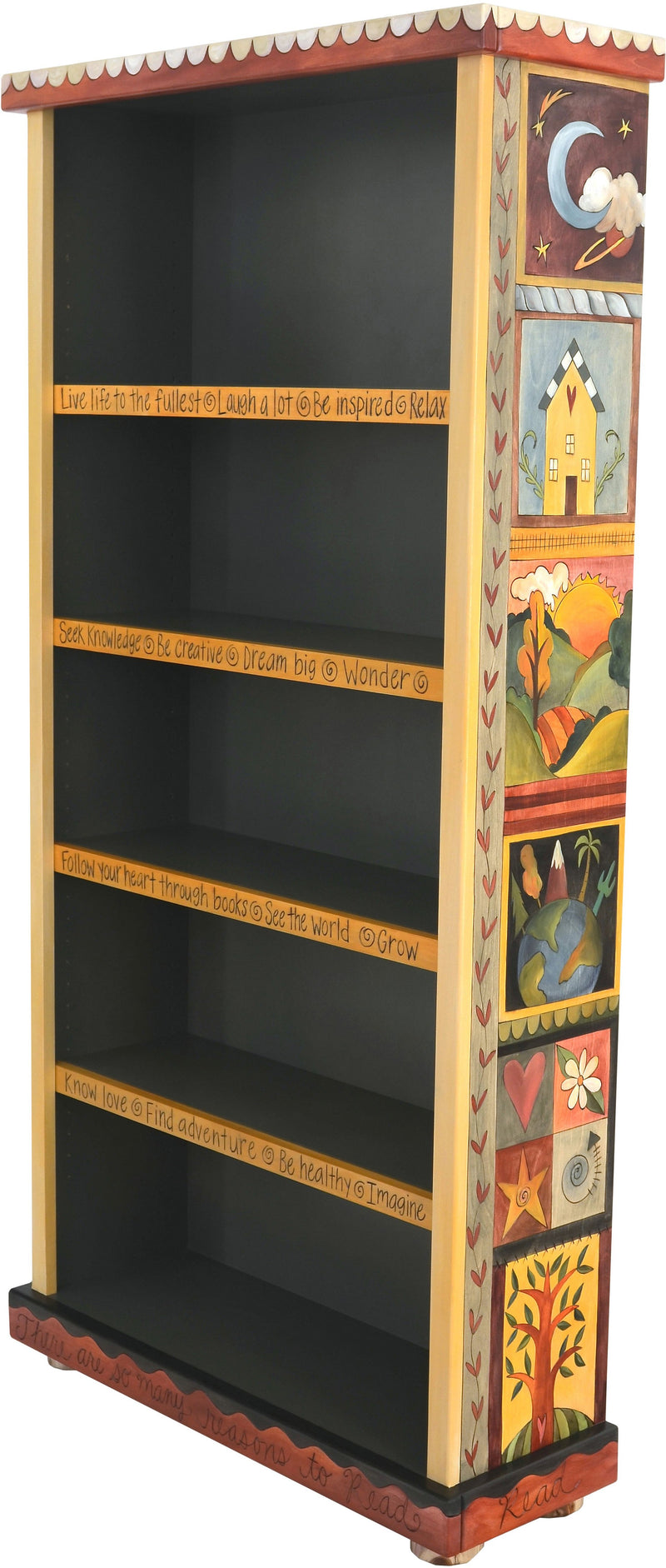 Tall Bookcase –  Lovely tall bookcase with colorful block icon motif and dark interior