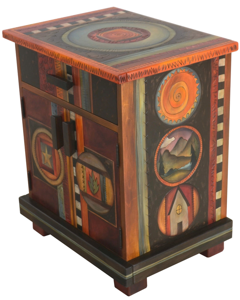 Nightstand Cabinet –  Elegant and dark toned nightstand with circular block icons and patterns