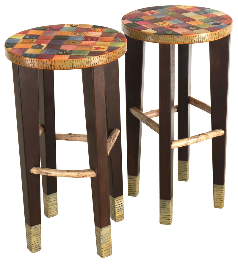 Round Stool Set –  Elegant and richly painted matching stools with colorful block patterning