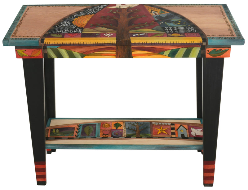 Sticks handmade sofa table with tree of life design and colorful life icons