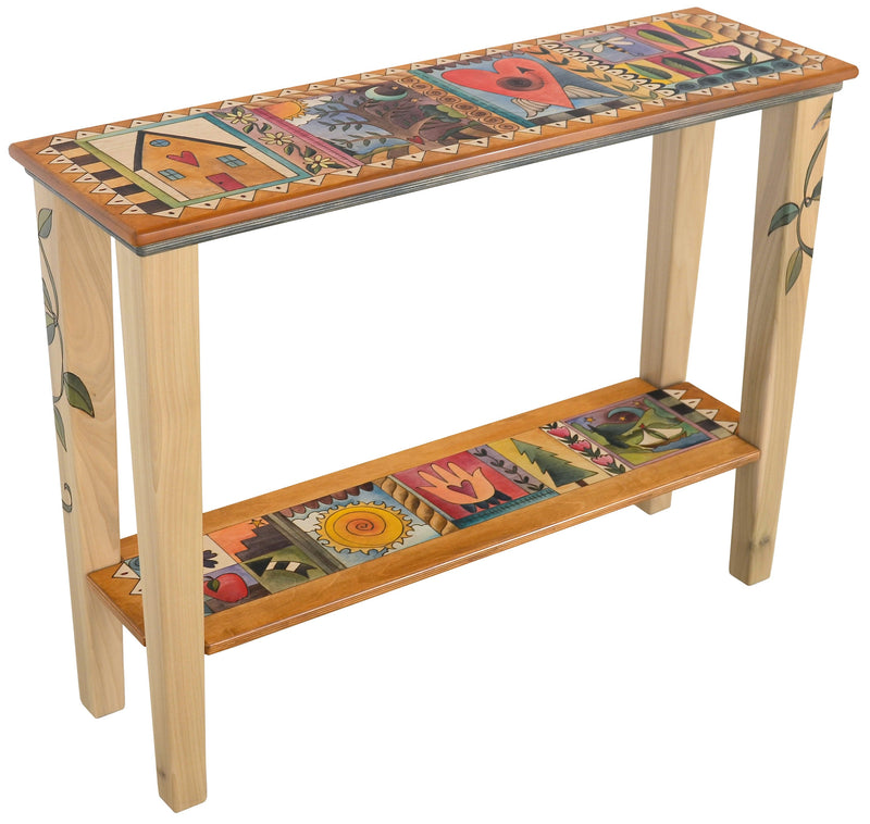 Sticks handmade sofa table with colorful folk art imagery