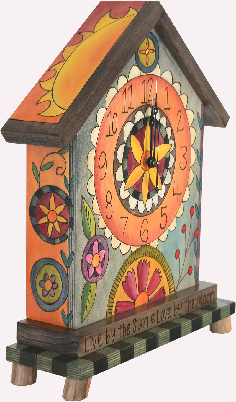 Mantel Clock –  Fun and eclectic mantel clock with floral motifs