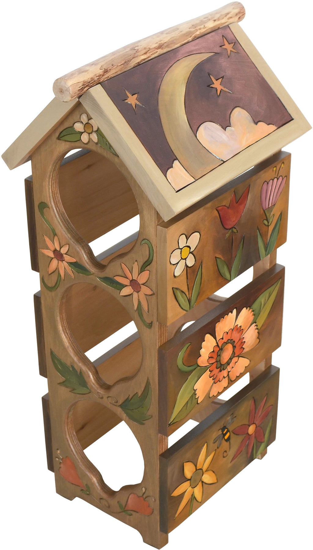 Sticks handmade wine rack with sun and moon and floral motif