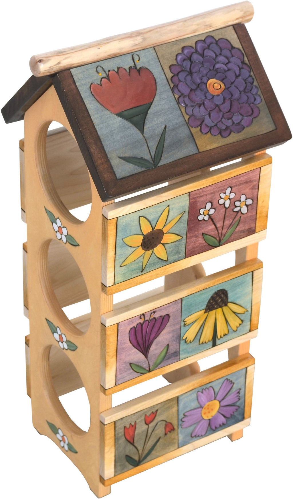 Sticks handmade wine rack with lovely floral motif