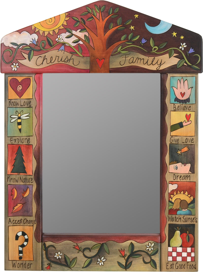 "Medium Mirror –  ""Cherish Family"" mirror with sun and moon behind family tree motif"