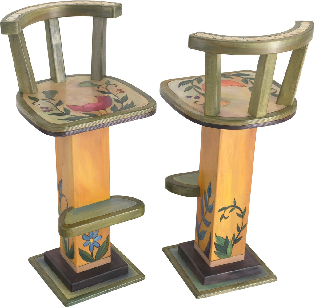 Stool Set with Backs –  Beautiful stool set with backs with floral motif with birds and vines