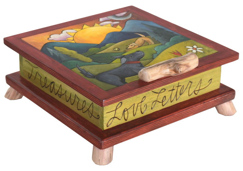 Keepsake Box – Friendly dogs play about in a hilly landscape motif