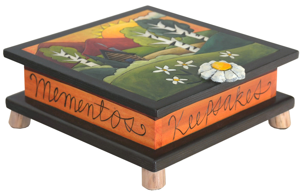 Keepsake Box – Mountainous landscape with a lodge and birch trees motif