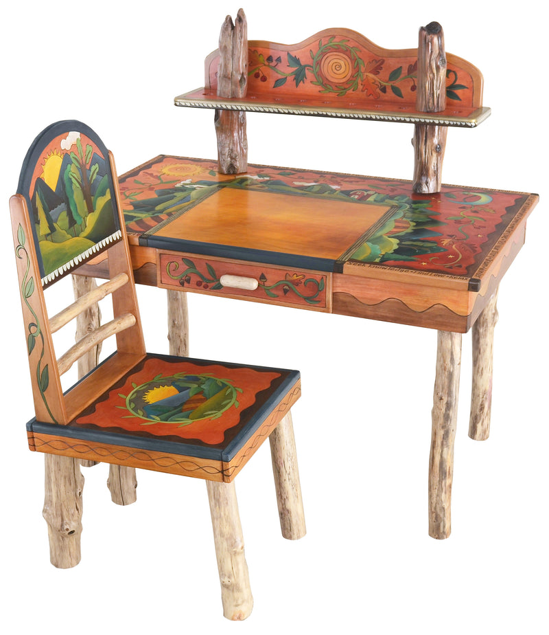 Desk with Shelf –  Beautiful and warm desk with mountain landscapes, sun and moon motif, and shelf
