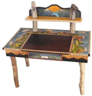 Desk with Shelf –  Playful mountain landscape desk with sun and moon motifs and shelf for books