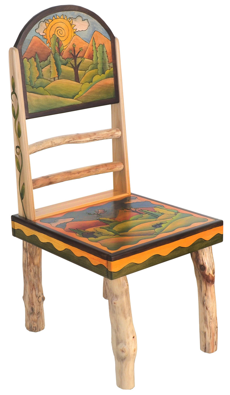 "Sticks Side Chair –  Elegant and neutral chair with rolling foothills and mountains landscapes, ""Sit"""