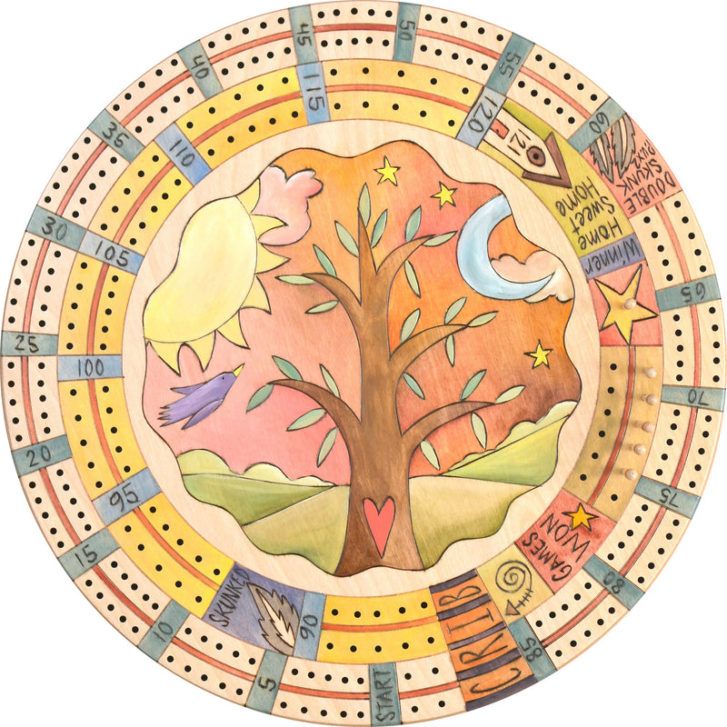 "20"" Cribbage Lazy Susan –  Tree of life design in a pastel color palette"