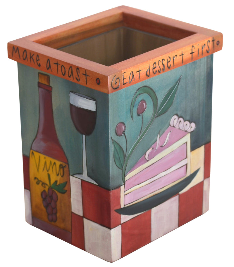 "Vase/Utensil Box – ""Eat dessert first"" sweet treat motif vase"