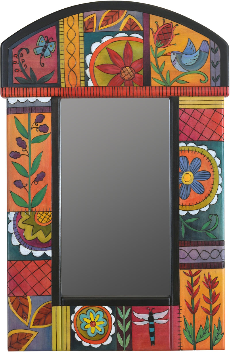 Small Mirror –  Small mirror with bright contemporary floral motif