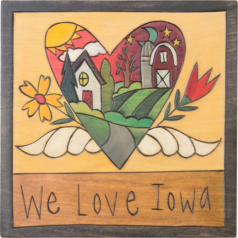 "7""x7"" Plaque –  Rural farm landscape within a heart with wings motif"