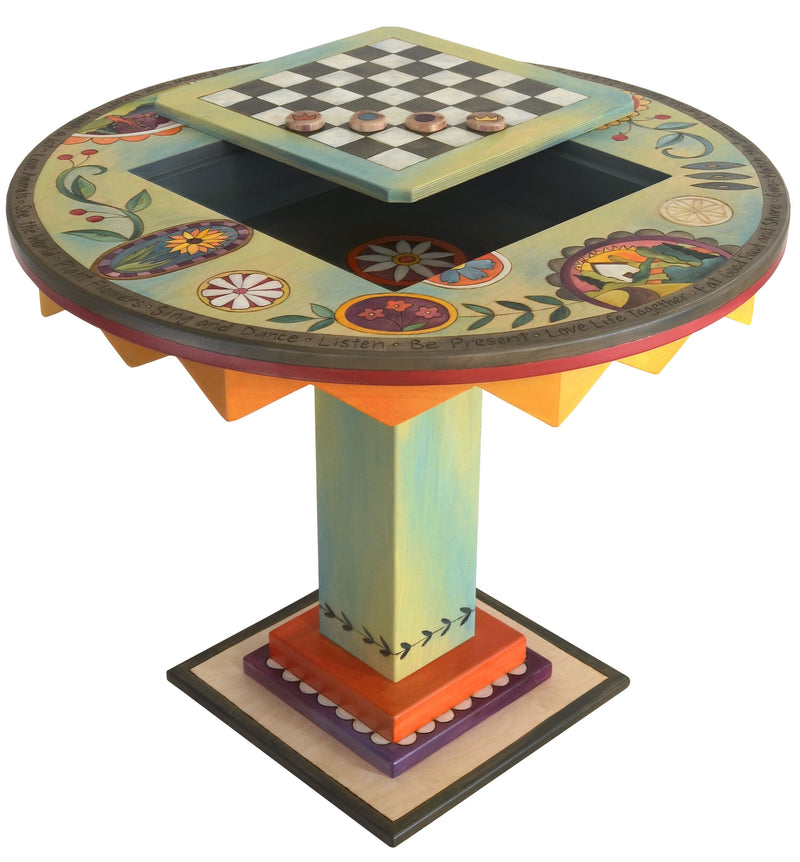 "Flip-Top Game Table –  ""Love Life Together"" flip-top game table with checkerboard surrounded by bright and fun contemporary floral motif"