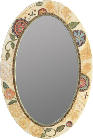 Oval Mirror –  Beautiful neutral and pastel oval mirror with floral motifs