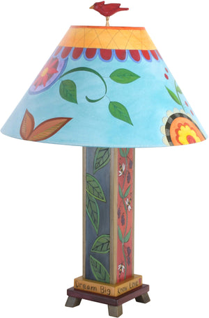 Box Table Lamp –  Contemporary, fun and eclectic table lamp with floral motifs