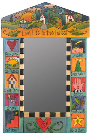 "Small Mirror –  ""Life life to the fullest"" farm landscape and boxed icon motif"