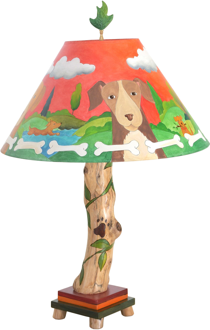 Log Table Lamp –  Whimsical dog themed log lamp