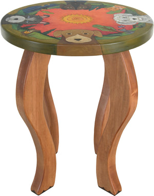 Round End Table –  Adorable end table with dogs playing about a landscape