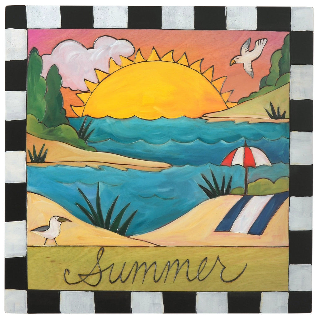 "Sticks handmade wall plaque with ""Summer"" quote and beach landscape"