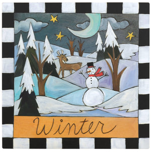 "Sticks handmade wall plaque with ""Winter"" quote and snowy nighttime landscape with snowman and deer"