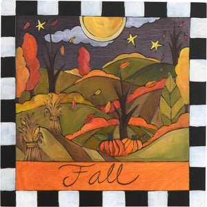 "Sticks handmade wall plaque with ""Fall"" quote, autumn landscape and checked border"