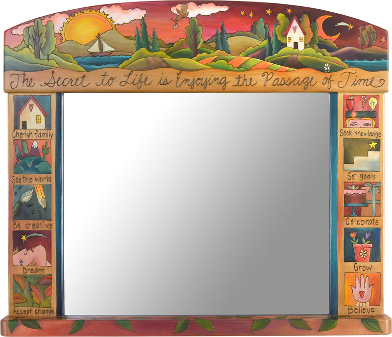 "Large Horizontal Mirror –  ""The secret to life is enjoying the passage of time"" lovely warm-toned landscape and boxed icon mirror motif"