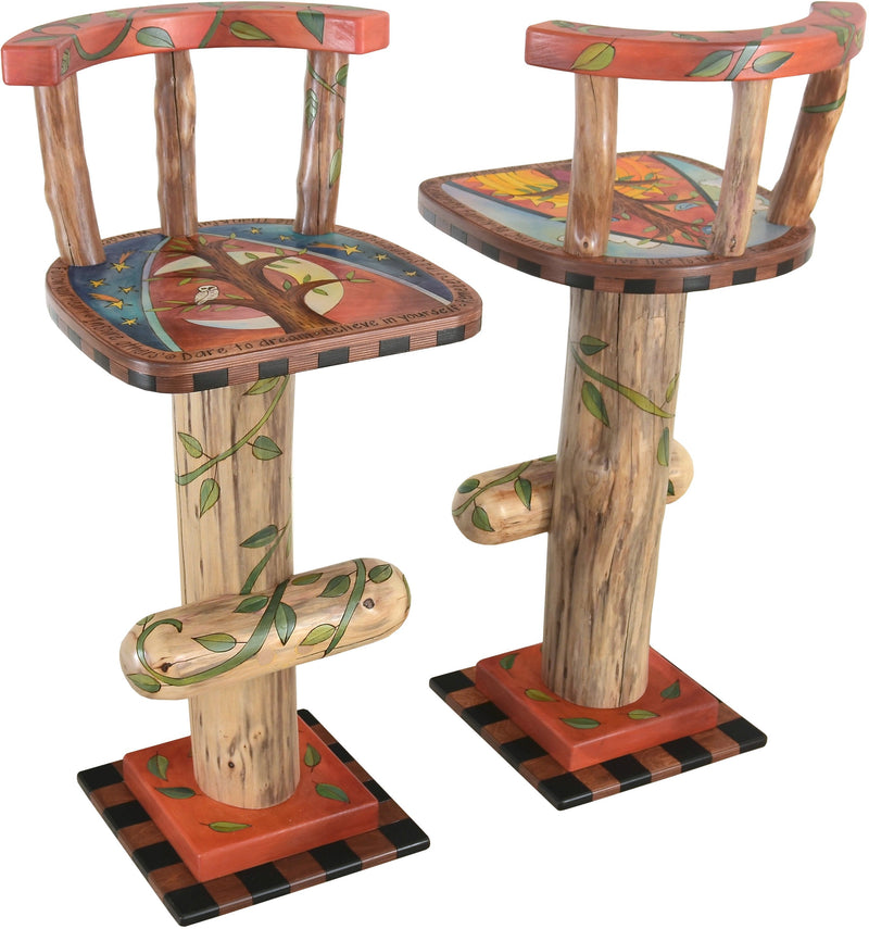 Stool Set with Backs –  Stool set with backs with sun and moon over the tree of life motif