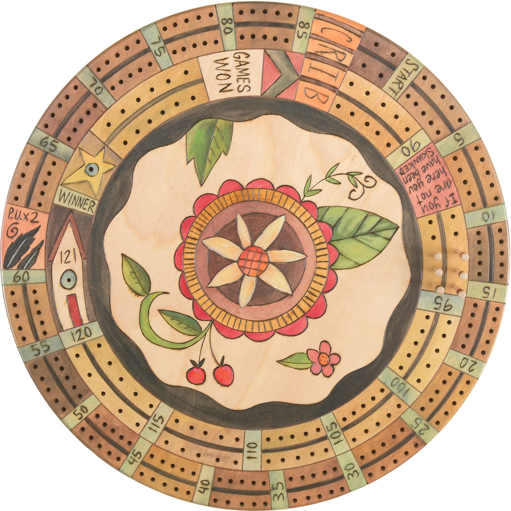 "20"" Cribbage Lazy Susan –  A sweet pink-hued contemporary floral design"