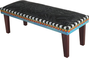Sticks handmade 4' bench with leather and black and white design