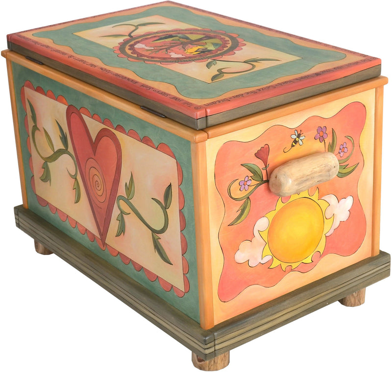"Chest –  ""Tell your Story"" chest with heart, sun and moon motif"