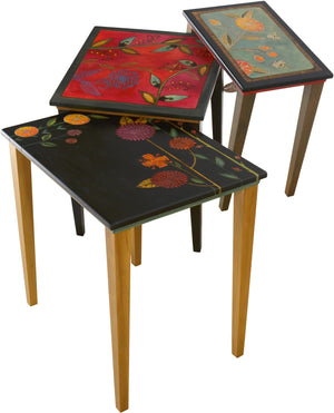 Nesting Table Set –  Pop of color nesting table set with beautiful contemporary floral motif