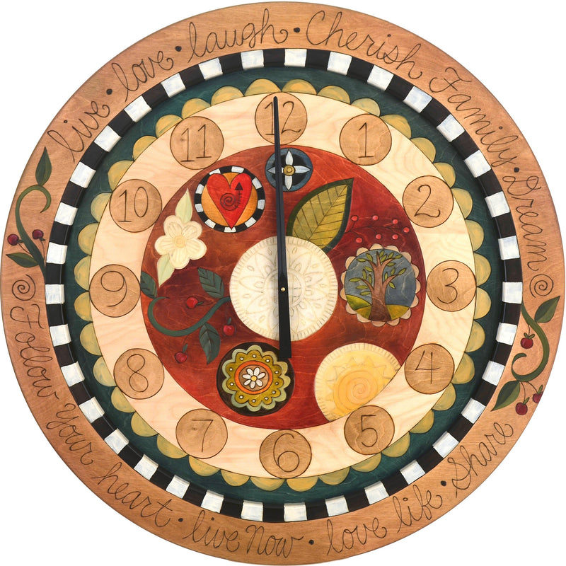 "Sticks handmade 36""D wall clock with fun, folk art design"