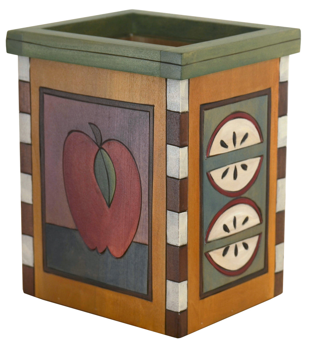 Vase/Utensil Box – Gorgeous, simple apple and pear slices design