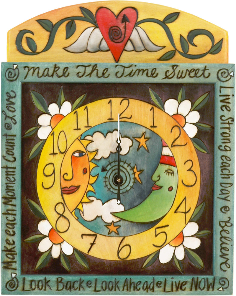 Square Wall Clock –  Lovely sun and moon themed wall clock with floral motifs