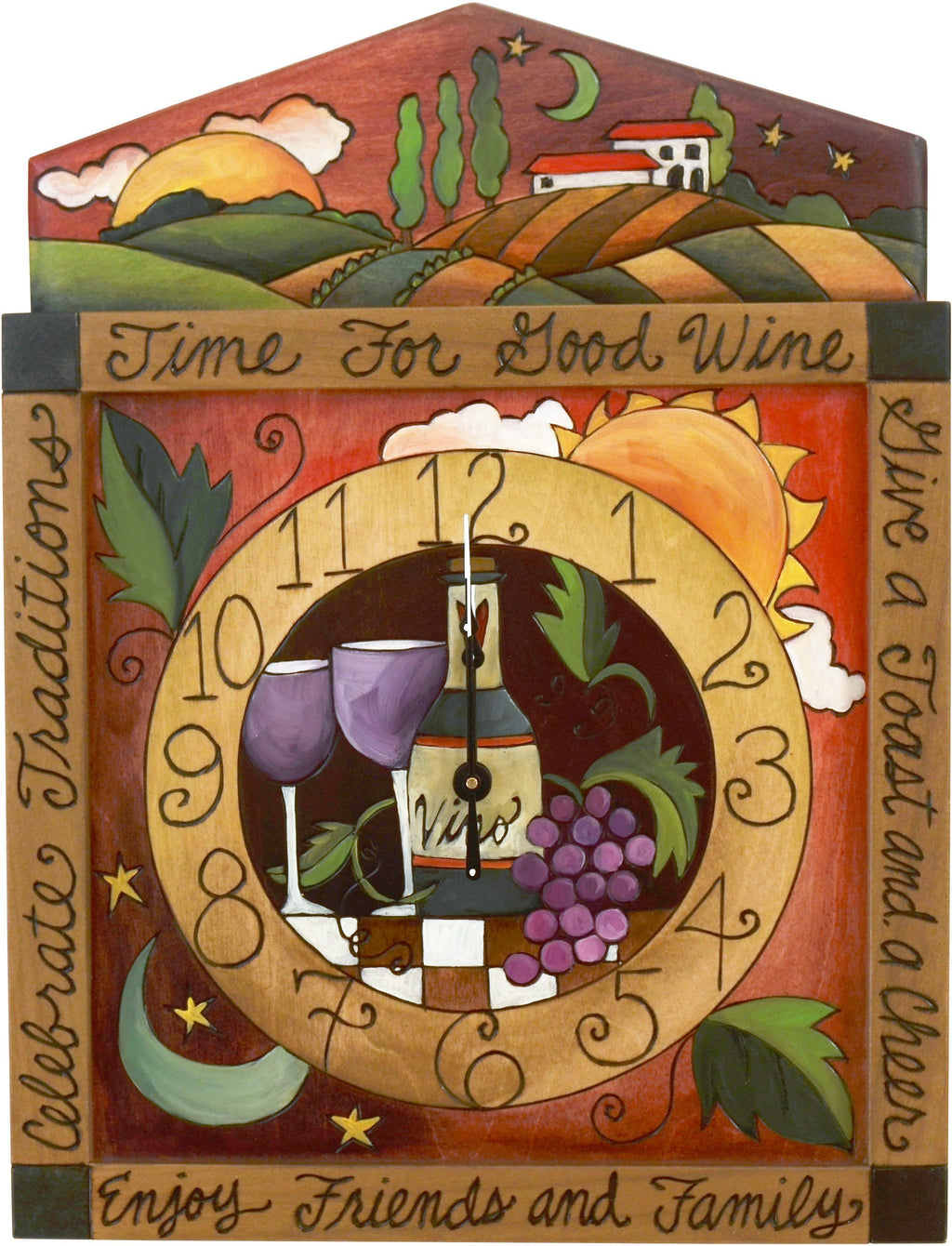 "Square Wall Clock –  ""Time for Good Wine"" wall clock with wine and grapes motif"