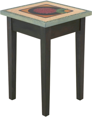 Small Square End Table –  Elegant square end table with floral motif