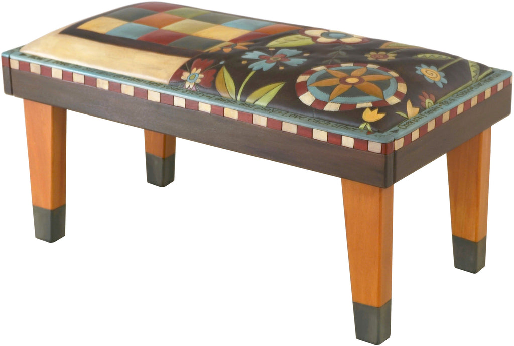 Sticks handmade 3' bench with leather and beautiful contemporary floral design
