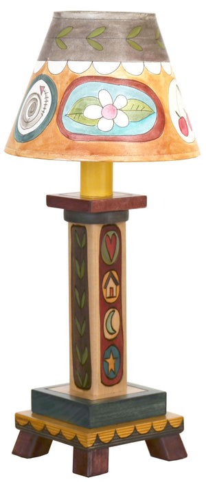 Milled Candlestick Lamp –  Funky, abstract botanical design with leaf and vine motifs