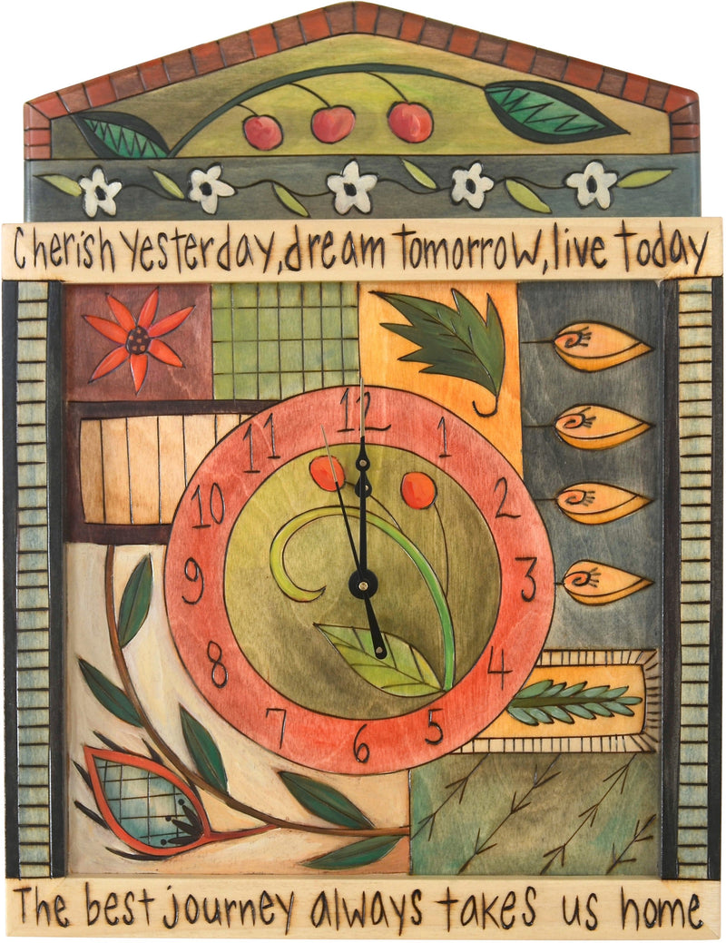 "Square Wall Clock –  ""Cherish Yesterday, Dream Tomorrow, Live Today"" wall clock with floral motif"