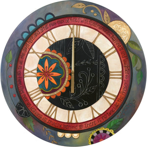 "Sticks handmade 36""D wall clock with elegant, contemporary folk art motif"