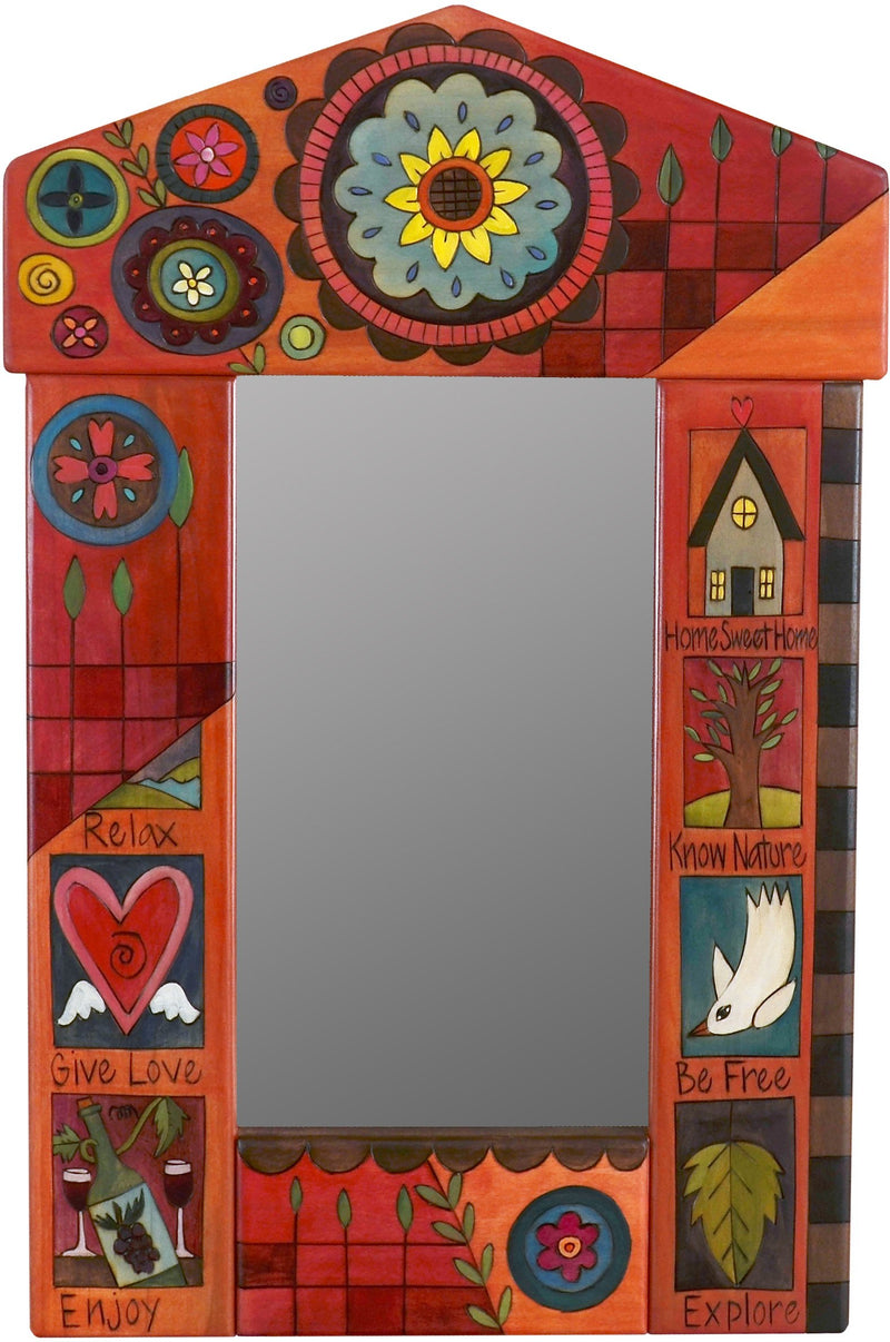 "Small Mirror –  ""Home Sweet Home"" mirror with contemporary floral motif on a red background"