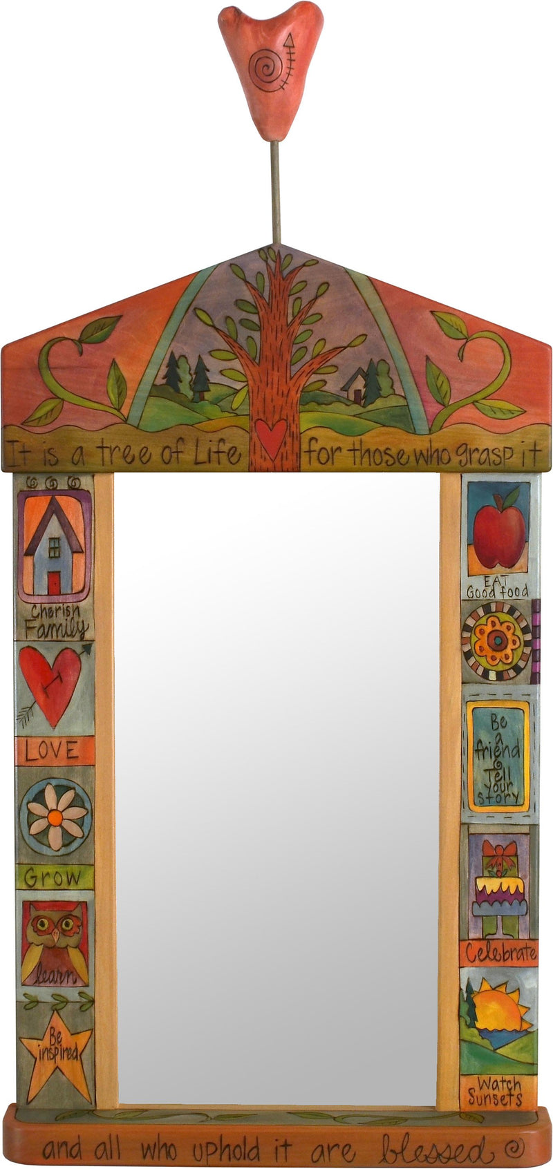 "Large Mirror –  ""It is a Tree of Life for those who Grasp it"" mirror with tree motif and heart"
