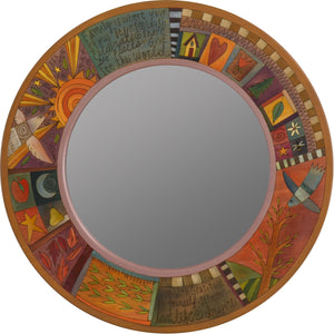 Large Circle Mirror –  Elegant and neutral color palette large round mirror with inspirational phrases, block icons and patterns