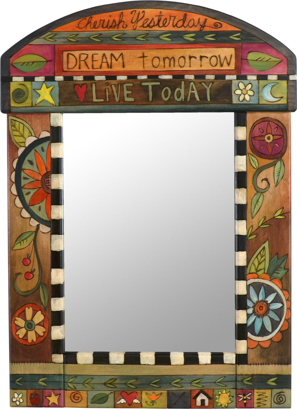 "Medium Mirror –  ""Cherish Yesterday/Dream Tomorrow/Live Today"" mirror with floral motif"